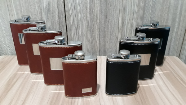 Liquor Flask, Stainless, Leather Flask